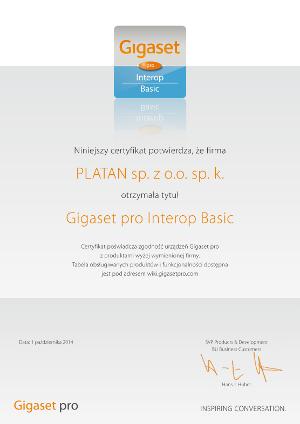 Certyfikat Gigaset pro Interop Basic