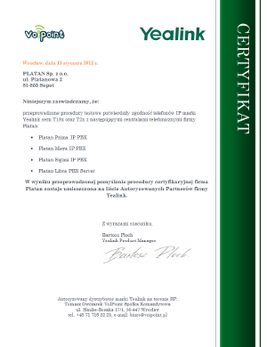 Certyfikat Yealink